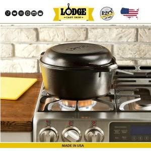 Кастрюля-жаровня с крышкой-сковородой, 4,7 л, D 26 см, литой чугун, Lodge, США, арт. 15604, фото 3