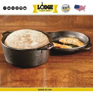 Кастрюля-жаровня с крышкой-сковородой, 4,7 л, D 26 см, литой чугун, Lodge, США, арт. 15604, фото 8