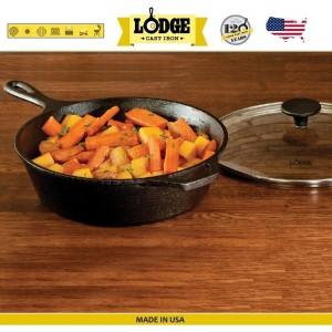 Сковорода глубокая со стеклянной крышкой, D 26 см, литой чугун, Lodge, США, арт. 15589, фото 5