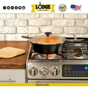 Сковорода глубокая со стеклянной крышкой, D 26 см, литой чугун, Lodge, США, арт. 15589, фото 2