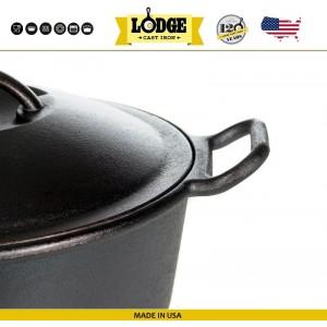 Большая кастрюля-жаровня с крышкой, 7 л, D 30 см, литой чугун, Lodge, США, арт. 15605, фото 6