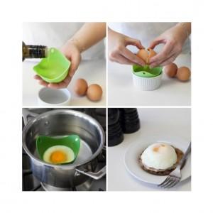 Формы для варки яйца без скорлупы 2 шт. зеленые, L 9 см, W 9 см, H 6,5 см, Fusionbrands, США, арт. 17099, фото 5