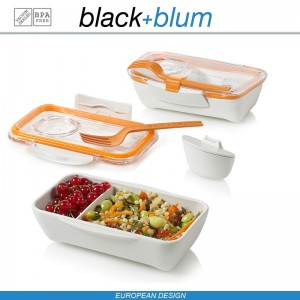 Bento Box Appetit ланч-бокс с разделителем, белый-оранжевый, Black+Blum, арт. 12170, фото 2