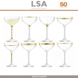 Бокалы Deco для шампанского с золотым декором, выдувное стекло,  8 шт по 235 мл, LSA, арт. 86958, фото 1