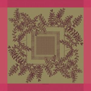 Скатерть 155x155 см, 100% хлопок с отталкивающим эффектом, цвет клюквенный, декор Cranberry, серия Fougeres, GARNIER-THIEBAUT, Франция, арт. 1198, фото 2