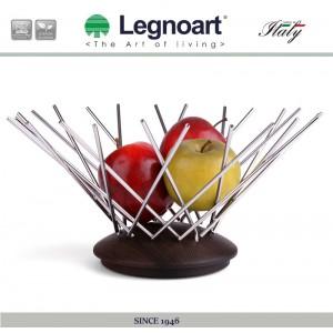 Ваза для фруктов ручной работы, D 30 см, сталь, дерево ясеня, LEGNOART, Италия, арт. 2051, фото 2