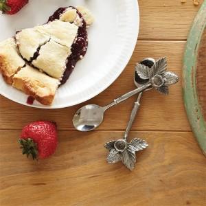 Набор десертных ложек 4 шт, L 14 см, ручная работа, олово, серия Blackberry, Vagabond House, США, арт. 22350, фото 2