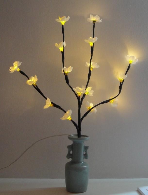 Ветка со светодиодами, 12 цветков c LED, розовое свечение, H 60 см, PVC, Feron