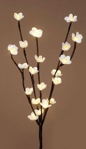 Ветка со светодиодами Яблоневое цветение, 32 LED, теплое белое свечение, H 38 см, PVC, Feron