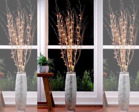 Ветка со светодиодами Ягоды калины, 20 LED, теплое белое свечение, H 75 см, PVC, Feron