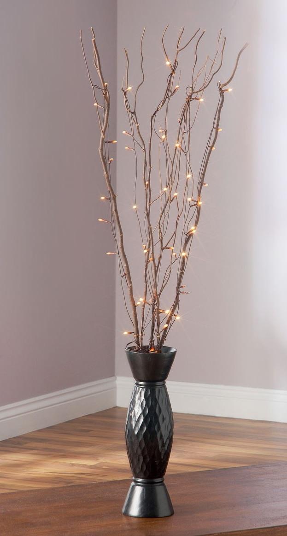 Ветка Еловая со светодиодами, 60 лампочек LED, теплое белое свечение, H 78 см, PVC, Feron