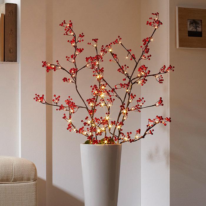Ветка со светодиодами Красные ягоды, 30 LED, красное свечение, H 59 см, PVC, Feron