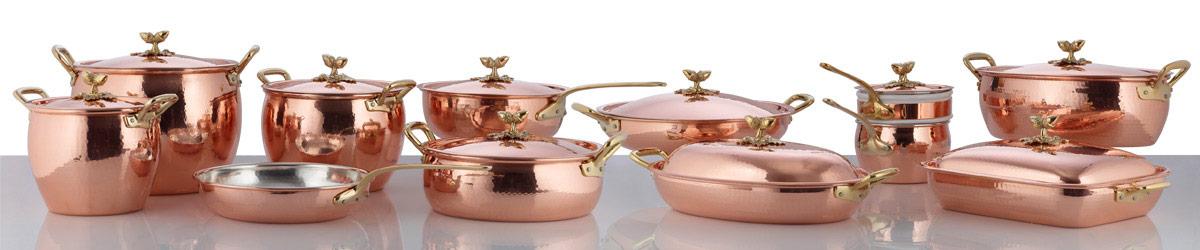 Набор медной посуды 5 предметов: сотейник, ковш, сковорода, 4 деревянные лопатки, серия Historia decor, RUFFONI, Италия